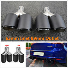 1Pair Matte Carbon Fiber Car Stainless Steel Exhaust Pipe Tail Muffler Dual Tips