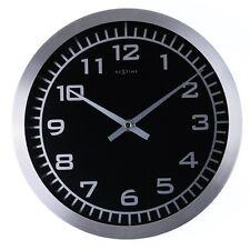 Nextime Blacky Horloge Murale, Montre avec Noir Cadran, Verre Aluminium, Ø25cm ,