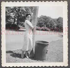 Vintage 1950s Photo Pretty Glamour Girl w/ Street Light & Trash Can 673294