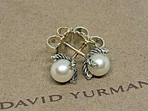David Yurman 6mm Freshwater Pearl Earrings with Diamonds Pouch Included