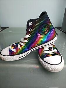 Converse Chuck Taylor All Star Hi Rainbow Pride Glitter Iridescent Sneakers W8