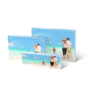 Magnetic Acrylic Block Photo Frame Double Sided Frameless Desktop Display BULK