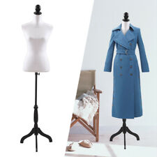 White Female Mannequin Torso Dress Clothing Form Display w/Tripod Stand New