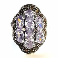 (SIZE 7,8) Exquisite AMETHYST STONES RING Marcasite .925 STERLING SILVER