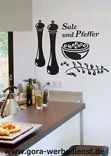 Wandtattoo Wandaufkleber Esszimmer Küche Gewürze Dekorfolie Salz und Pfeffer