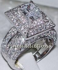 Oversized Diva Sterling Vintage Style Cz Wedding Engagement 2 Ring Set Sz 8