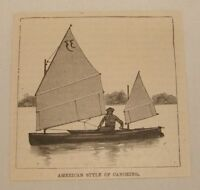 1886 magazine engraving ~ AMERICAN STYLE OF CANOEING