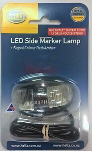 Genuine HELLA LED Multivolt Side Marker Lamp - Red/Amber - P/N 2053