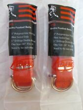"2 x ADAMS USA 510 BUCKS ADULT/YOUTH FOOTBALL GAME BELT 1"" D-RINGS 60"" RED"