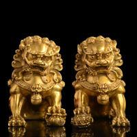 A Pair Feng Shui Chinese Bronze Lion Statue Copper Evil Guardian Door Fu Foo Dog
