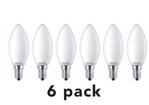 6x Philips LED Candle 6.5w - 60w SES E14 Small Edison Screw NON Dim Light 2700K