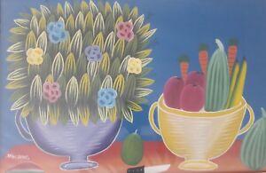 Vintage Seide Benoit Haitian Naif Art Still Life Painting Haiti - Listed Artist