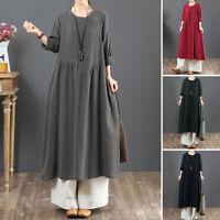 ZANZEA UK Womens Long Sleeve Cotton Linen Casual Loose Kaftan Baggy Maxi Dress