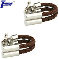 Men Brown Leather Rope Shirt Cufflinks With Velvet Bag TZG Cuff Links