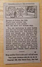 1944 arcade machine Horoscope card Esmeralda's Prophesies Friday The 13th Rare