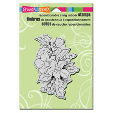 STAMPENDOUS RUBBER STAMPS CLING CHRISTMAS ROSES NEW cling STAMP