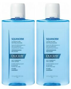 2 pack of Ducray Squanorm Anti-Dandruff Lotion with Zinc 200 ml relieves itching
