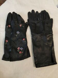 Vintage Ladies Long Black Leather Gloves (Lot of 2 pairs) Size 6