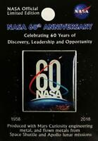 NASA 60th Anniversary Lapel Pin Contains Flown Metal From Space Shuttle Apollo