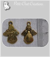 6 BRELOQUES ANGE PENDENTIFS PERLES METAL DORE 18mm charms angel *O87