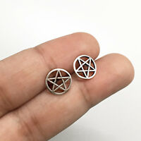 925 Sterling Silver Pentagram earrings Pentacle Wicca Pagan Gothic Stud Earrings