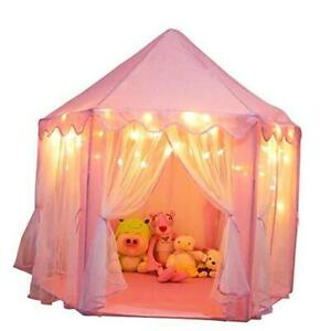 Princess Castle Playhouse Tent for Girls with LED Star Lights – Indoor &