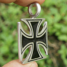 """LARGE KNIGHT TEMPLAR IRON CROSS MALTESE charm 4mm 925 Sterling Silver 24"""" Chain"""