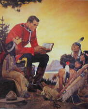 2 Canadian Mountie RMCP reading Bible to Indian children by Friberg