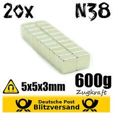 20x Neodym Magnet Quader 5x5x3mm - magnetisch neodymium starke Minimagnete