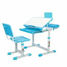Kids Desk and Chair Set Height Adjustable & Tilt Desk with Pull-Out Drawer Blue