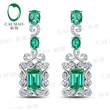 2.72ct Emerald Cut & Oval Cut Natural Emerald Diamond Engagment Earrings