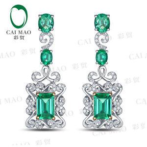 2.72ct Emerald Cut & Oval Cut Natural Emerald Diamond Engagment Earrings