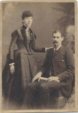 CABINET CARD, PORTRAIT OF AWKWARD COUPLE POSING TOGETHER.