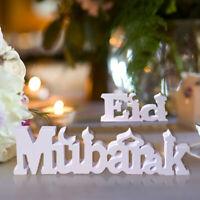Eid Mubarak Wooden Letter Ornament Islamic Ramadan Dining Party Decor Supplies