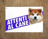 AKITA FULVO 1 Attenti al cane Targa cartello metallo Beware of dog sign metal
