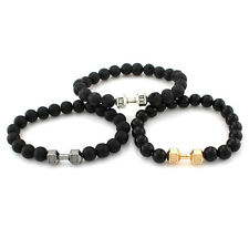 New Men Bead Chain Gold Barbell Dumbbell Bracelet Gym Sports Bangle Jewelry