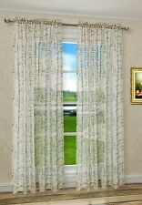 "French Script Faux Linen Sheers Window Curtains Panels Taupe Color 50"" X 84"""
