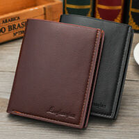 KQ_ IC- BL_ Men's Business Soft Faux Leather Short Wallet Purse Credit Cards Hol