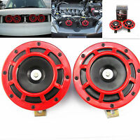 2 Pcs Dual Tone Red Grille 118DB Mount Super Loud Car Speakers Horns For Holden