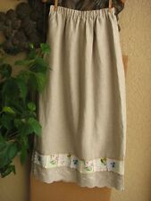Cottage Clothing LINEN Skirt with VINTAGE Style HANKIE Trim XS - XL - NEW