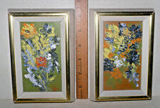 2 VTG Mid-Century Orig MINIATURE Art Paintings FLORAL EXPRESSIONISM ABSTRACT