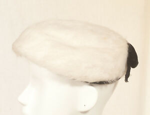 '60'S FRENCH VINTAGE FAUX FUR HAT/BERET 54 SIZE S