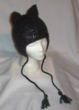 Hand Knit Ladies Cat Ears Hat w/Earflaps Meow Emo Goth Juggalette