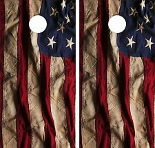 OLD AMERICAN FLAG 2 .Cornhole Board Game Decal Wraps Vinyl Sticker USA