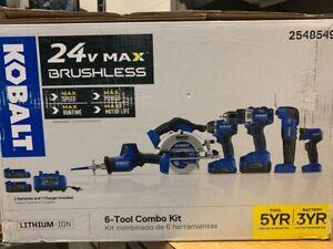 Kobalt 6-Tool 24-Volt Max Brushless Power Tool Combo Kit w/2 Batteries & Charger