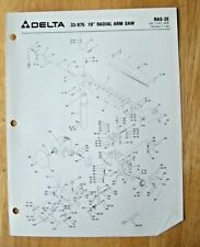 Original Delta 10 Radial Arm Saw 33 975 Illustrated Parts List Ras 2e