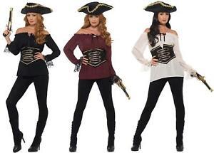 Adult Lady Pirate Shirt & Waist Clincher Corset Fancy Dress Costume