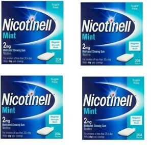 Nicotinell gum stop smoking aid 2mg mint 204 pieces 4 x pack