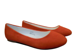 Womens Flat Ballerina Shoes Size 4 Wide Fit Pumps Ladies Red Orange Slip On NEW