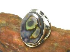 ABALONE  Sterling  Silver 925  Gemstone  RING  -  Size: Q